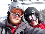 Devin and Rachel on chairlift