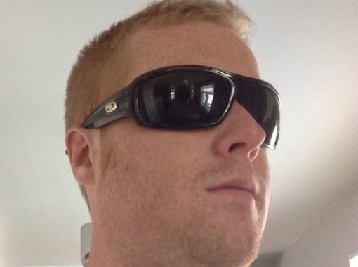 Devin in the Alpine sunglasses