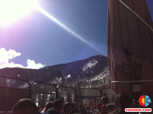 Sunny day at the umbrella bar at Red Tail Camp at Beaver Creek