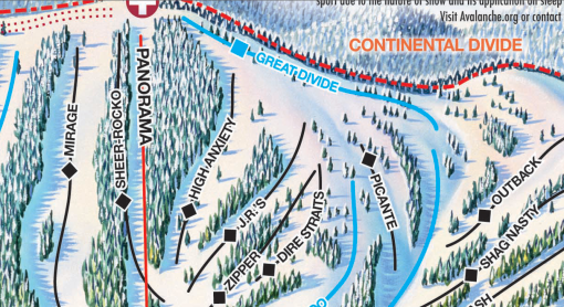 Monarch trail map showing  High Anxiety