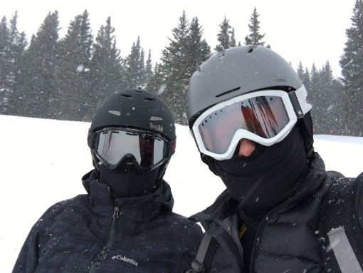 Rachel and Devin with flurries at Breck