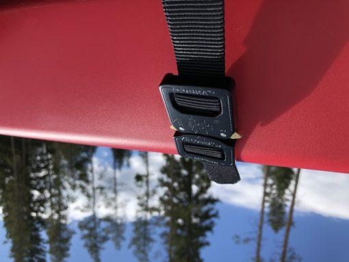 Zoom in on buckle of KlikBelt utility strap