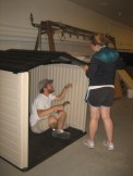 Kylla and Brendan working on the shed - almost done!