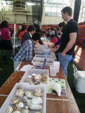 Chris and Mariah dazzle students with fun facts about lobsters, crabs and snails!