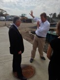 Geoff explaining our awesome new seawater system amidst the construction of the new and improved pumphouse.