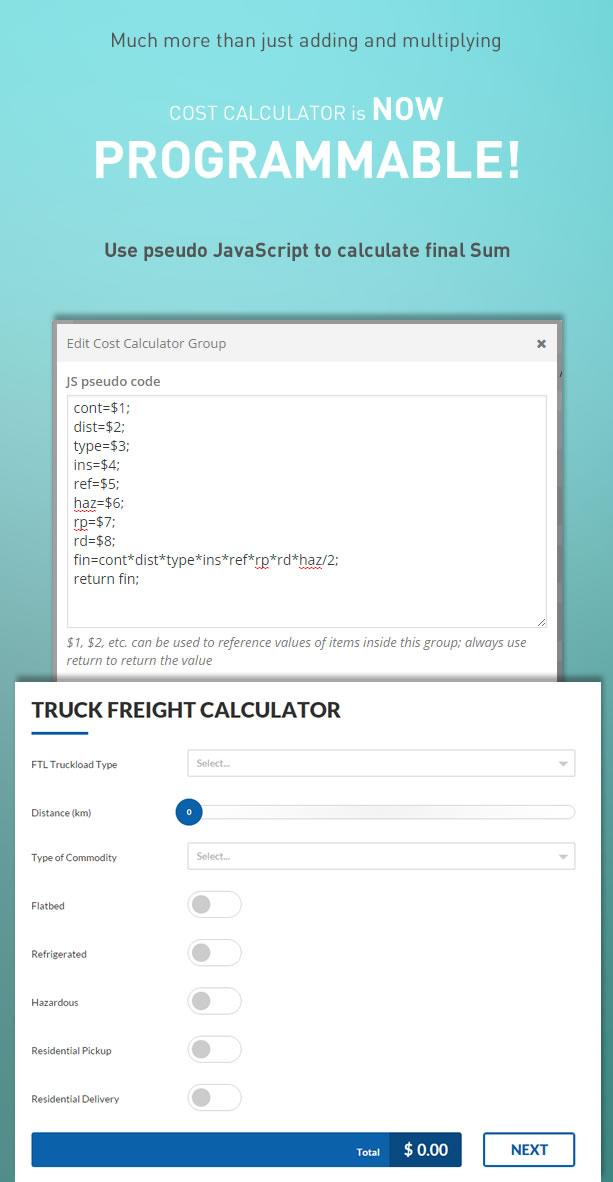 Cost Calculator - WordPress Plugin 1