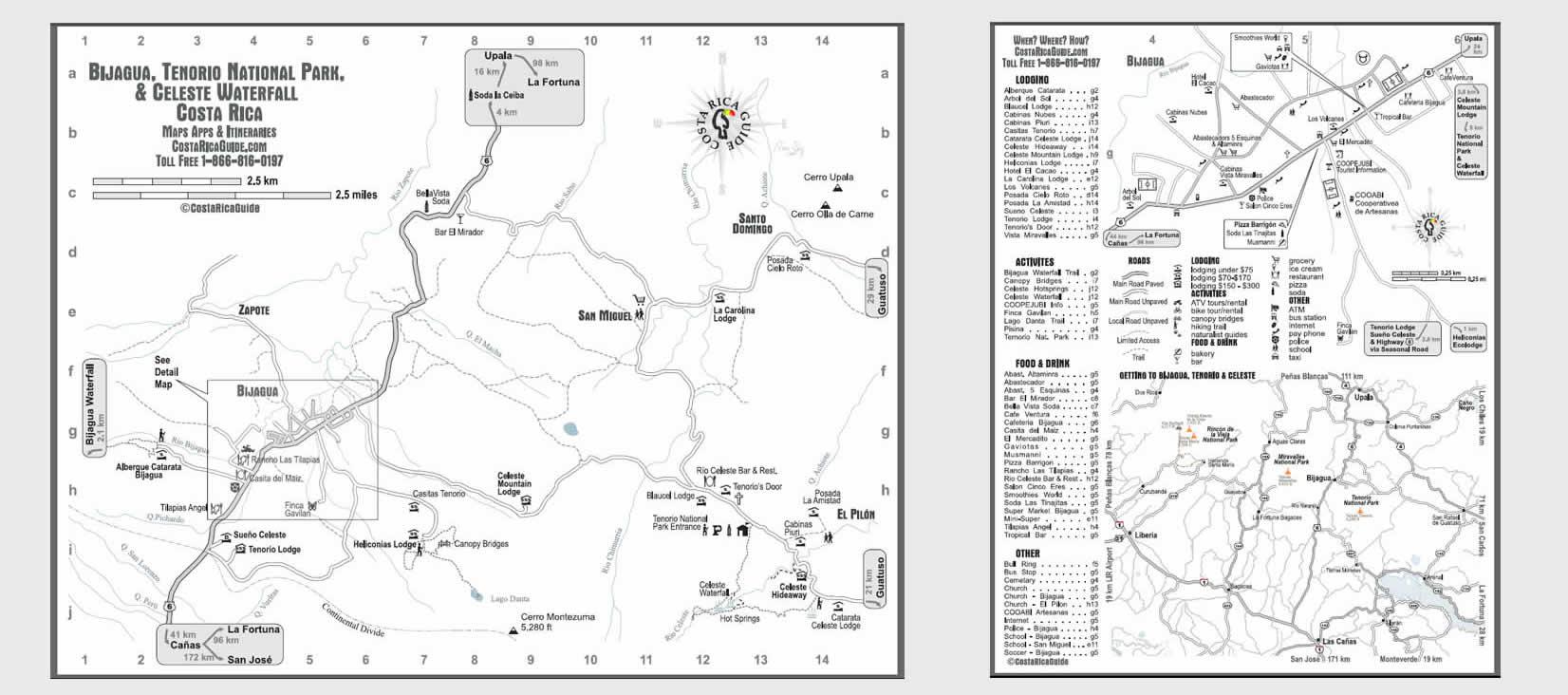 Tenorio, Celeste and Bijagua Map