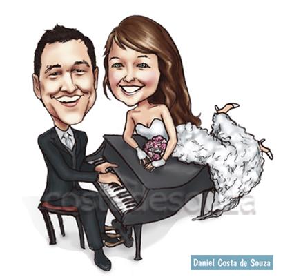 caricatura noivos piano pianista casamento