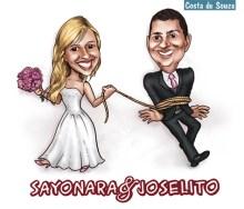 casamento noivos caricatura corda