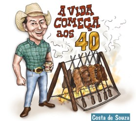 caricatura country churrasco sertanejo