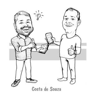 caricatura amigos trabalho presente online