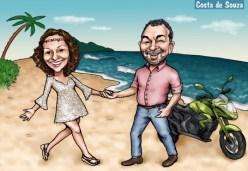 caircatura casal praia namorados moto