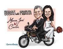 caricatura bodas moto noivos