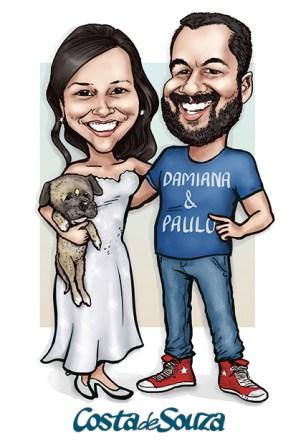 caricatura casamento cachorro noivos