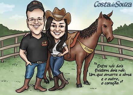 caricatura casal fazenda cavalo
