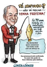caricatura convite festa aniversario 70