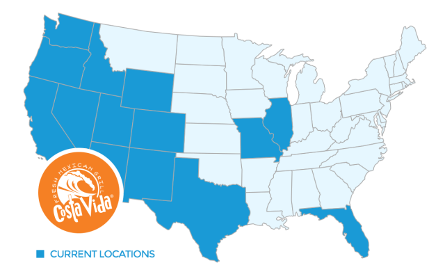 In addition to locations in 14 states, we also have Costa Vida restaurants open in Alberta, Canada. Call us at 888-218-1035 to discuss U.S. or Canadian opportunities