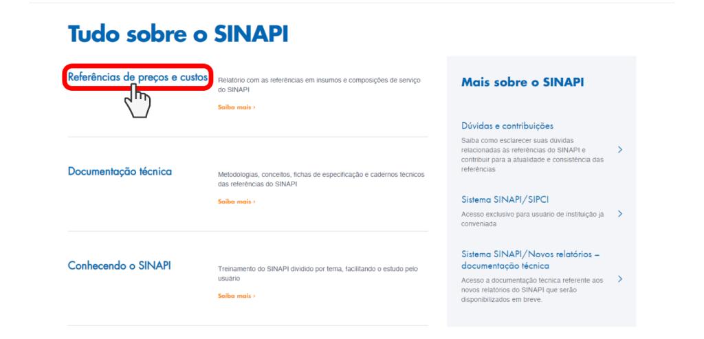 Captura de tela site da Caixa Econômica Federal SINAPI (Sistema Nacional de Pesquisa de Custos e Índices de Construção Civil)