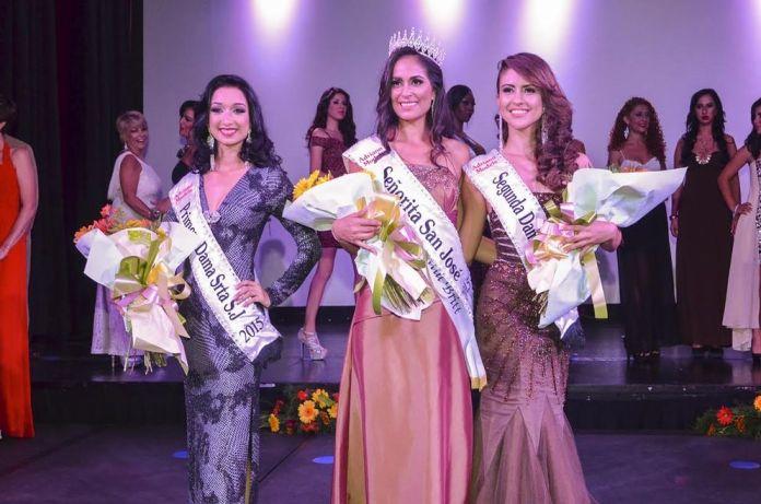 Gina Mora (centre) was is the new Señorita San José (Miss San Jose) 2015. Runners up are Carolina Jimenez (left) and Fariany Gutierrez (right). Photo: Arnoldo Barquero