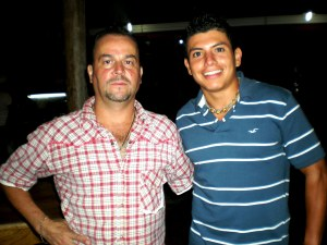 Ricky with Mario, owner of Soda Visquez in Arenal
