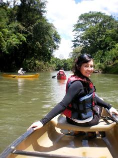 Wait too late and you'll be up the creek without a paddle (Nikki - canoeing the Penas Blancas River)