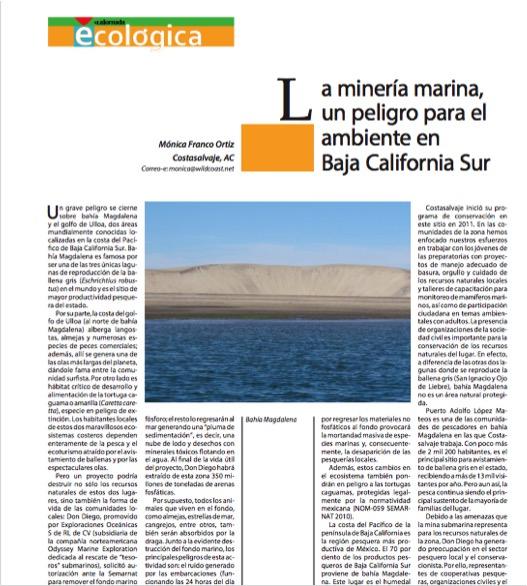 El artículo publicado en el número Jul-Ago 2015 de La Jornada Ecológica,