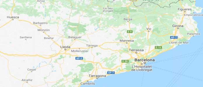Map of Northeast Spain