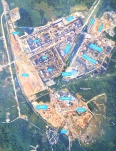 Vista áerea de las secciones industriales que conforman el proyecto petroquímico Etileno XXI ubicado en Nanchital, Veracruz.