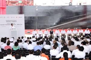 En el abanderamiento de los dos nuevos buques tanques de Pemex Refinación.