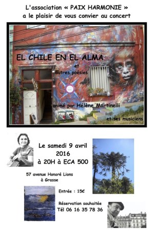 Una proyección de magníficas fotos de Chile nos transportará en un hermoso viaje, mientras disfrutamos de las canciones de Violeta Parra, Victor Jarra o los poemas cantados de Neruda,