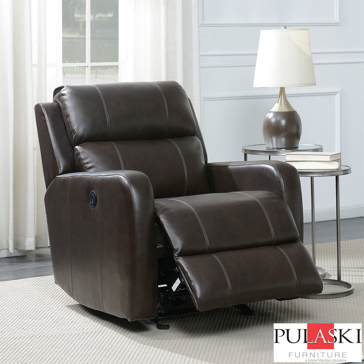 Brown Leather Chairs Pulaski Brown Leather Power Glider Recliner Chair Costco Uk