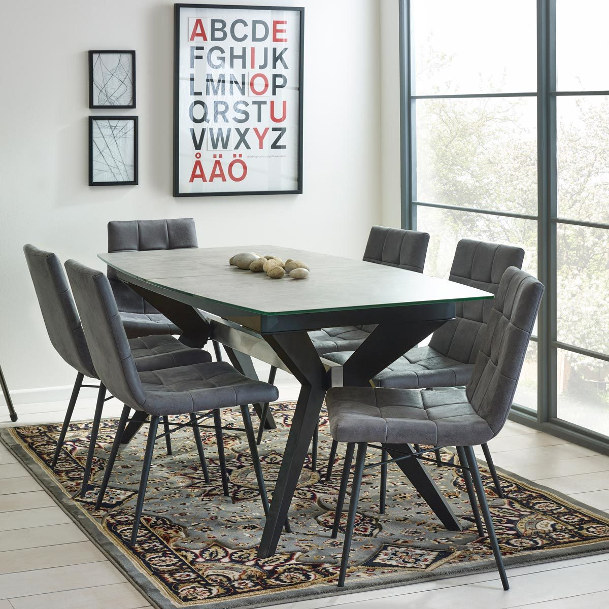 Costco Tables And Chairs Soho Glass Extending Concrete Effect Dining Table 6 Grey Chairs Costco Uk