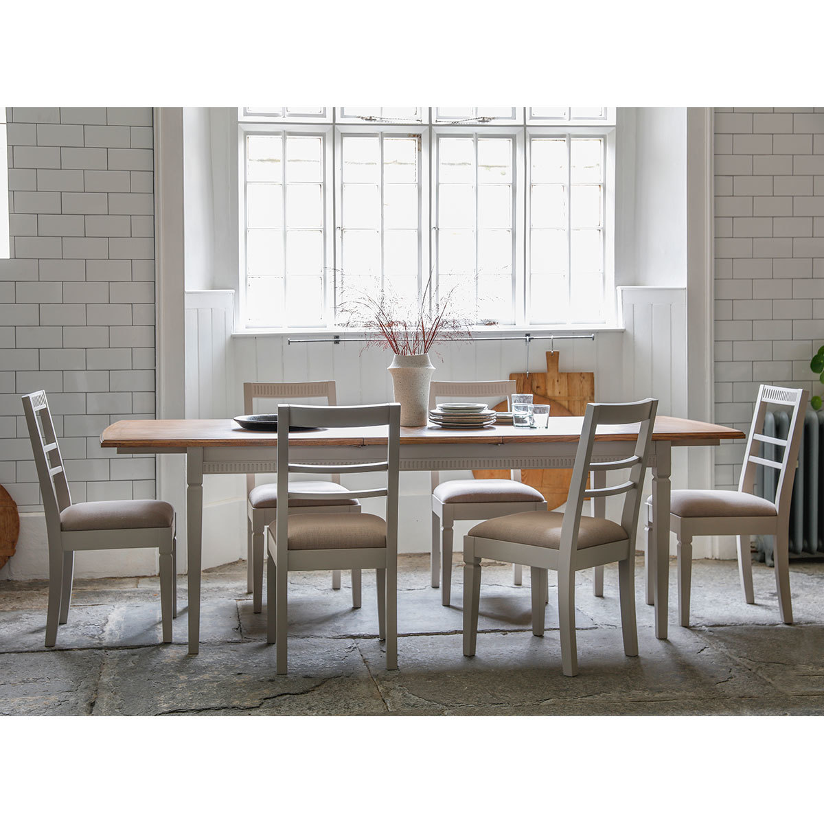 Costco Tables And Chairs Bronte Painted Taupe Extending Dining Room Table 6 Chairs Taupe Costco Uk