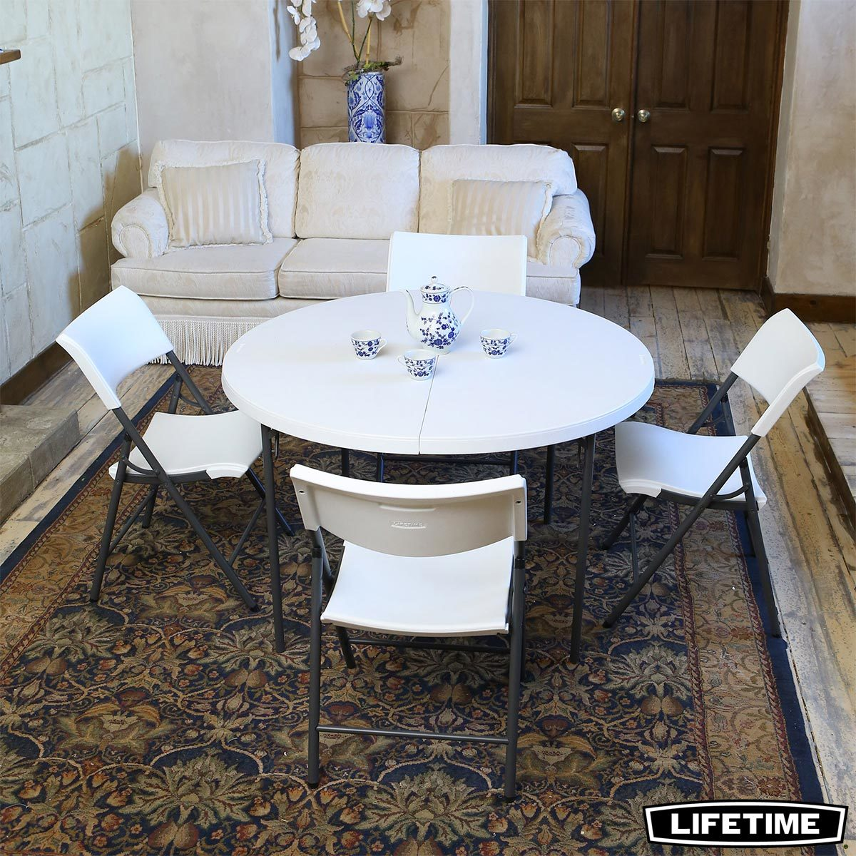 Costco Tables And Chairs Lifetime 48 4ft Round Commercial Table With 4 Chairs Costco Uk