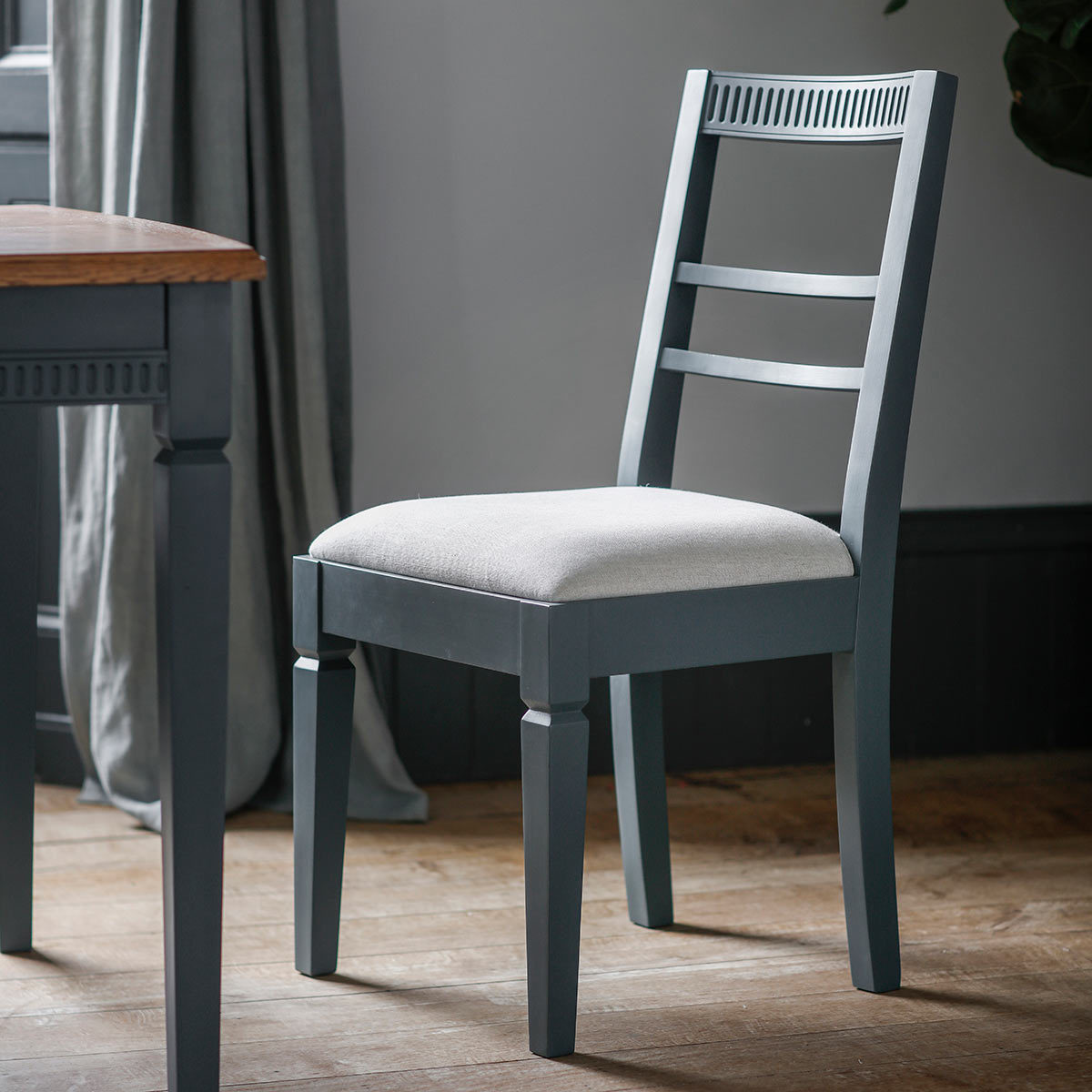 Blue Dining Chairs Bronte Painted Storm Blue Dining Chair 2 Pack Costco Uk