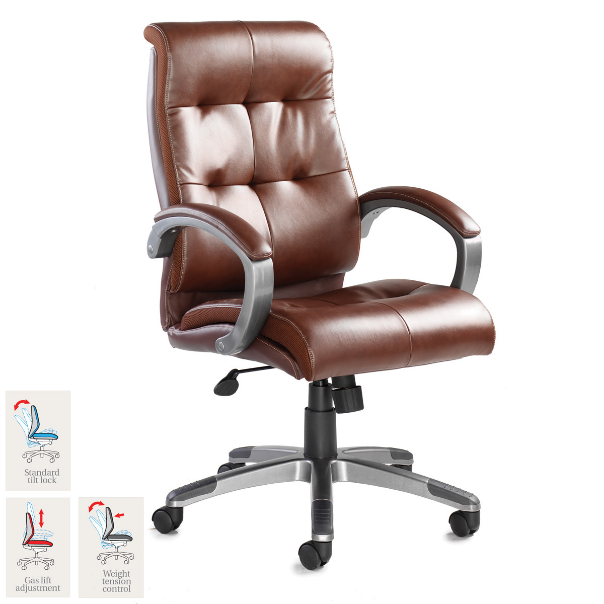 Costco Office Chairs In Store Catania Leather Faced Executive Chair In Brown Costco Uk
