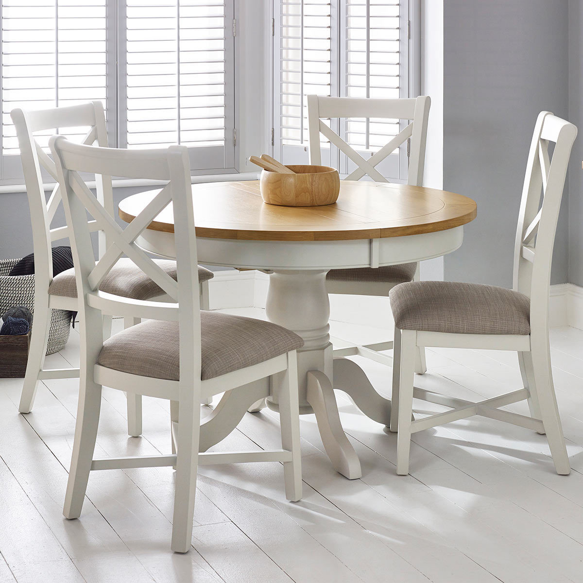 Costco Tables And Chairs Bordeaux Painted Ivory Round Extending Dining Table 4 Chairs Seats 4 6 Costco Uk