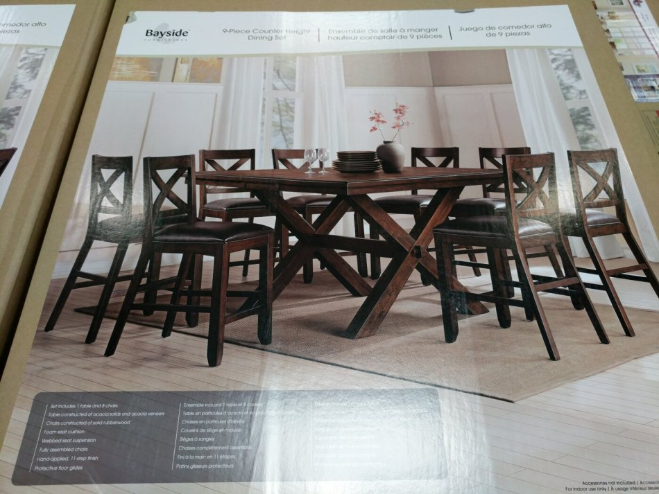 Bayside Furnishings 9 piece Counter Height Dining Set | Costco97.com