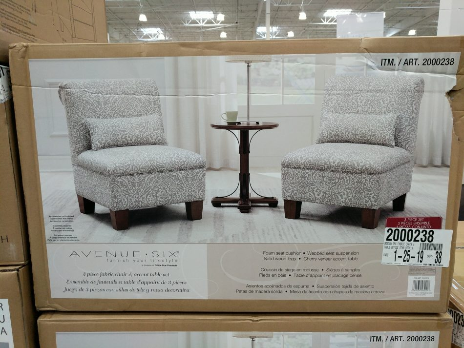 Avenue Six 3 Piece Fabric Chair Accent Table Set