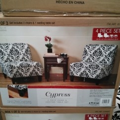 2 Accent Chairs And Table Set Baby Boy Doll High Chair Ave Six Cypress