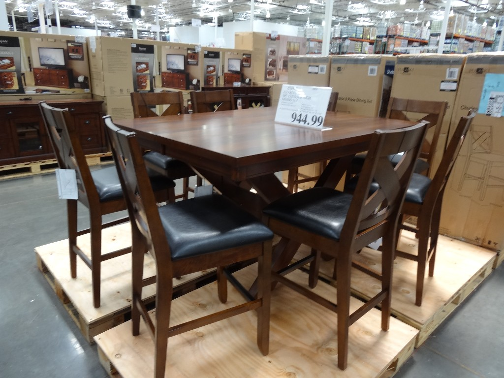 costco dining table and chairs jcpenney desk chair charleston 9 piece counter height set