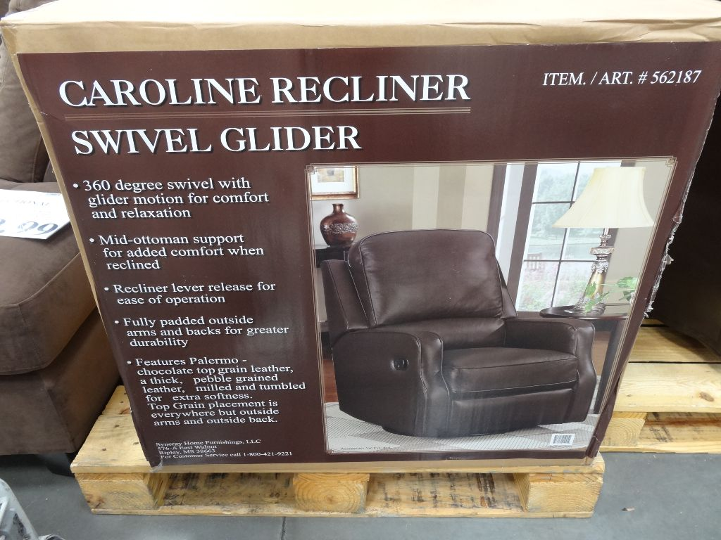 costco swivel chair winter wonderland covers synergy caroline leather recliner glider