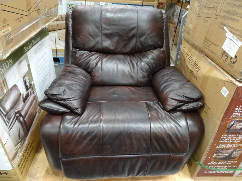 costco leather chairs chair bed argos co uk woodworth easton rocker recliner