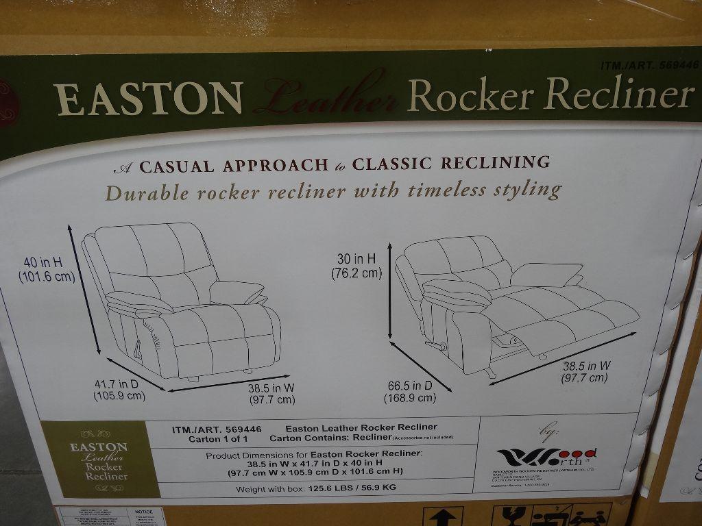 Woodworth Easton Leather Rocker Recliner