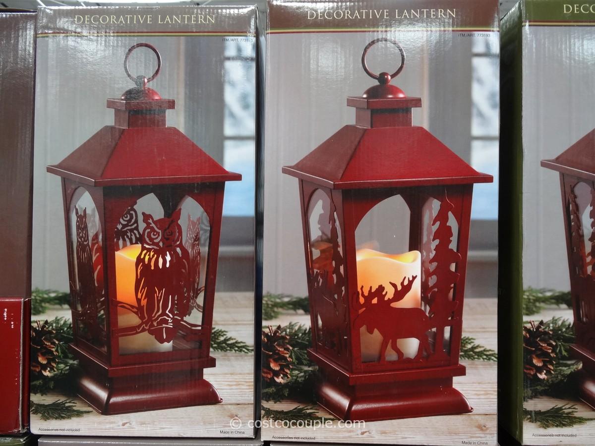 Decorative Lantern with Flickering LED Candle