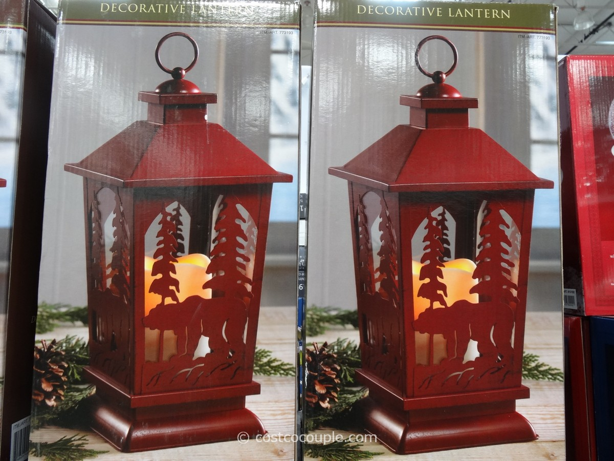 Decorative Lantern with Flickering LED Candle
