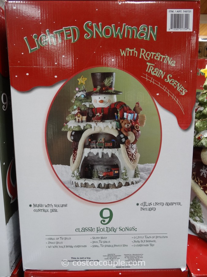 Lighted Snowman with Rotating Train Scenes