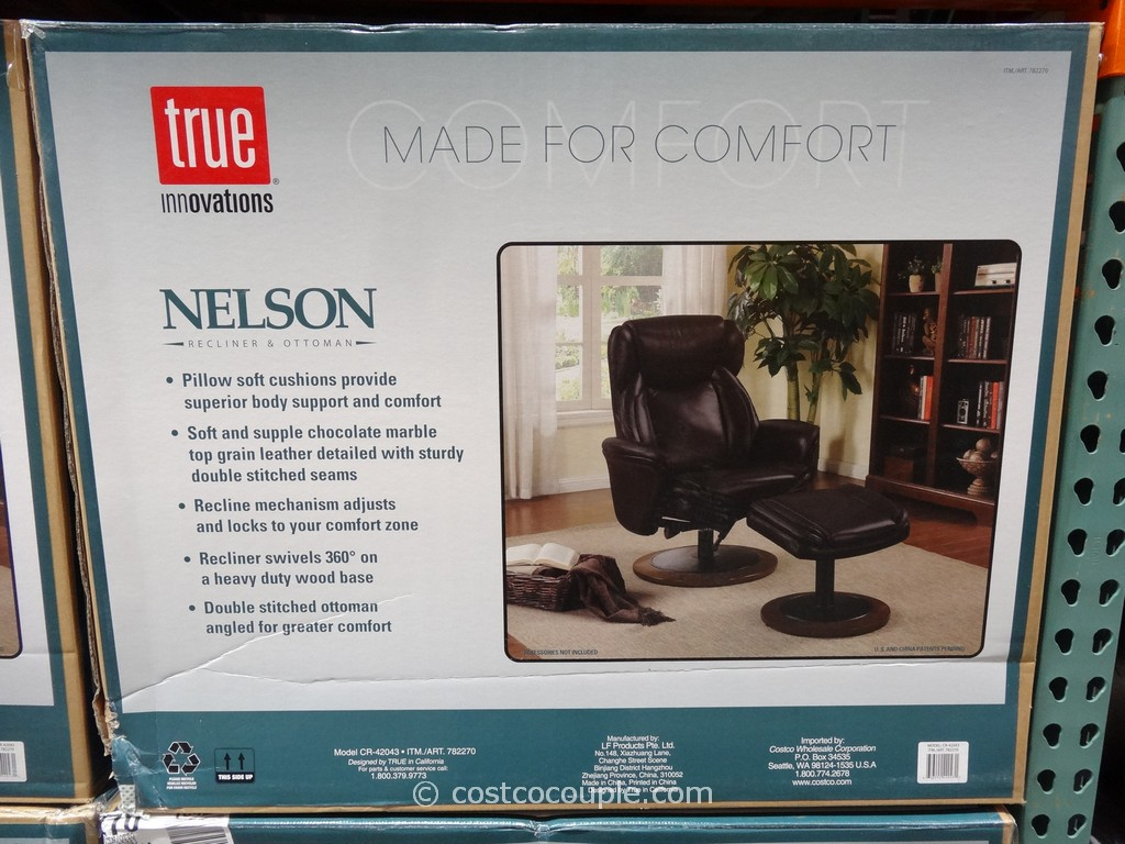 True Innovations Nelson Leather Recliner with Ottoman