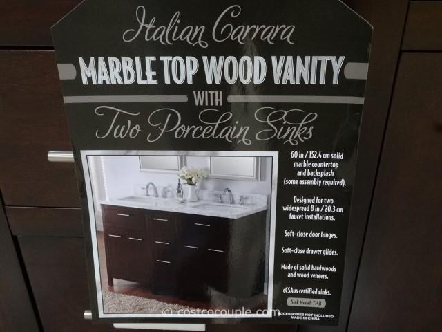 Lanza Products 60Inch Italian Carrara Marble Top Wood Vanity