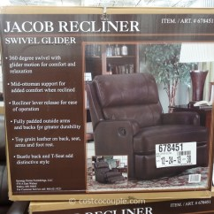 Swivel Chair Dimensions Evac Stand Synergy Jacob Leather Glider Recliner